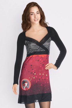 Robe ANATOPIK 17HGALAXIE Rouge bordeaux