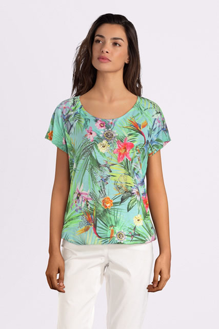 Tee-shirt fleurs strass BETTY BARCLAY
