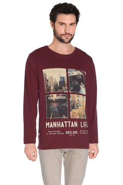 Tee-shirt manches longues DEELUXE W16117 Rouge bordeaux