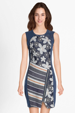 Robe DESIGUAL 18SWVD14 VEST_NO SLEEP Bleu