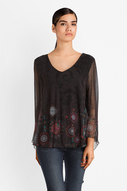 Tee-shirt manches longues DESIGUAL 18WWTK85 TS_BRULE Noir