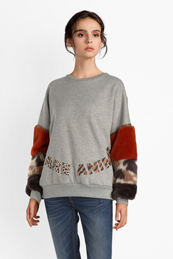 Sweat-shirt DESIGUAL 18WWSK02 SWEAT ELODIE Gris