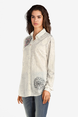 Chemise manches longues DESIGUAL 19WWCW50  CAM MORE AMORE Blanc