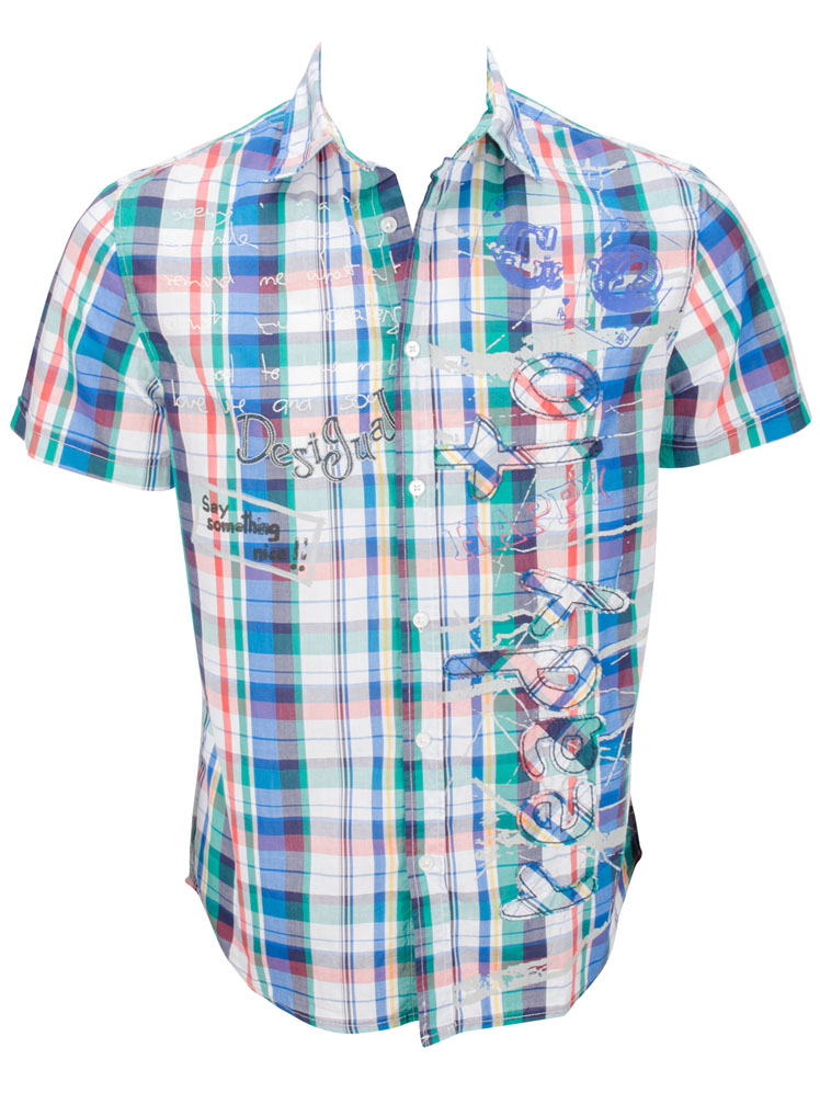 desigual chemise manches courtes 52c12b0 andromedeis bleu. Black Bedroom Furniture Sets. Home Design Ideas