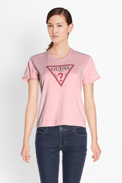 Tee-shirt GUESS W81I50JA900 SS RN TRIANGLE STU Rose pale