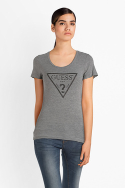 Tee-shirt GUESS W83I17K6YW0 SS CN BASIC TRIANG Gris