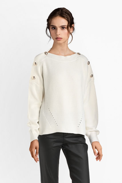 Pull cropped  épaules boutonnées GUESS