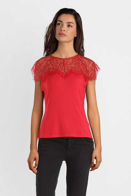tee shirt guess, Guess TOP A FINITION EN DENTELLE Femme