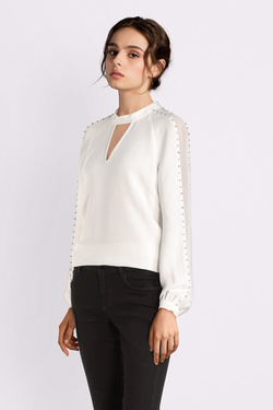 Blouse GUESS W94H74W96R0 LS SAVANA TOP Blanc