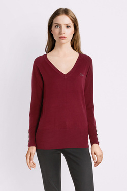 Pull GUESS W94R0ZZ2760 LS V NECK PAOLA S Rouge bordeaux