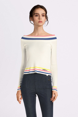 Pull GUESS W01R0JZ2DC0 DAISY SWEATER Blanc
