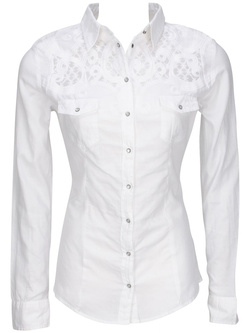 GUESS Chemise manches longues blanc W51H10 W63R0