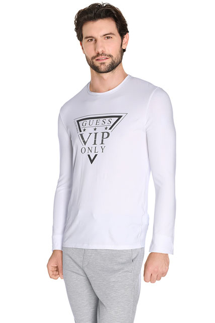 guess tee shirt manches longues m62i08 j1300 blanc homme. Black Bedroom Furniture Sets. Home Design Ideas