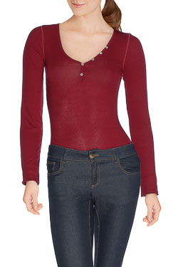 HILFIGER DENIM - Tee-shirt manches longuesTHDW BASIC BUTTON VRouge