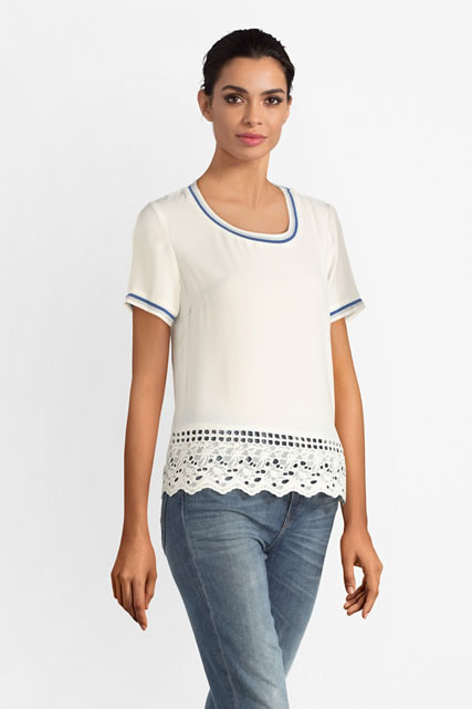 Blouse base en broderie anglaise I CODE BY IKKS
