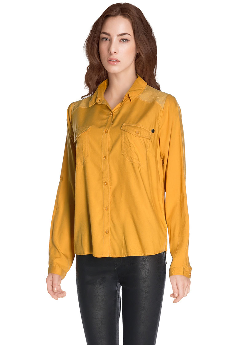 21ddae44647 Kaporal chemise manches longues CALERH16W42 jaune moutarde femme ...