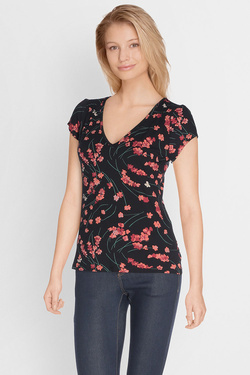 Tee-shirt KING LOUIE LAUREN TOP FLEURETTE Noir