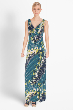 Robe KING LOUIE GINGER DRESS MAXI GLORY Bleu marine
