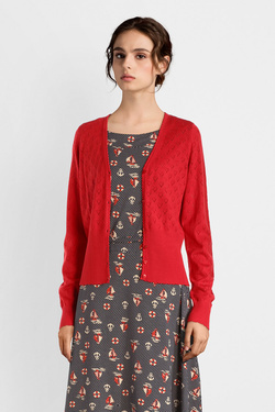 Gilet KING LOUIE CARDI V HEART AJOUR Rouge