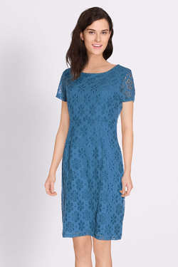 Robe KING LOUIE MOD DRESS UNI LACE Bleu