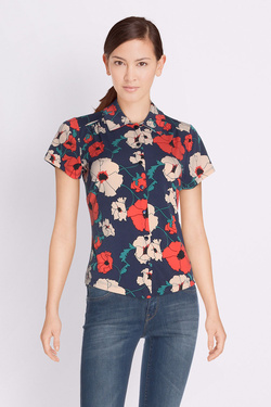 Chemise manches courtes KING LOUIE 02703 BLOUSE SHIRLEY POPPY Bleu