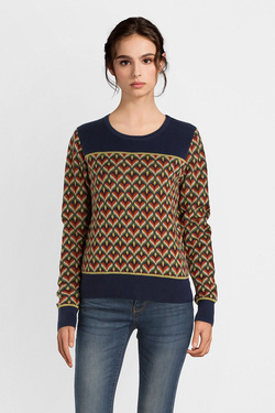 Pull KING LOUIE 03393 BELLA KNIT TOP GLOW Bleu marine