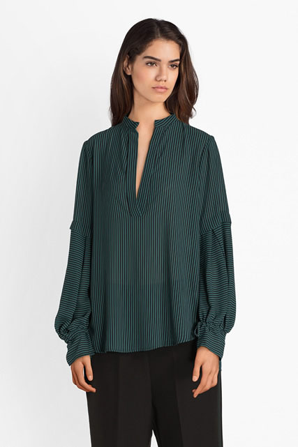 Blouse fluide fines rayures