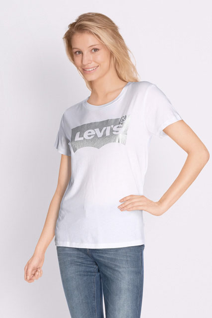 levi 39 s tee shirt batwing silv blanc femme des marques et vous. Black Bedroom Furniture Sets. Home Design Ideas
