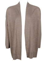MARIE SIXTINE Gilet buste long ouvert avec l aine taupe 444EP