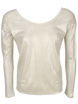 MARIE SIXTINE Tee-shirt manches longues ample en lin metallise argent J620CT