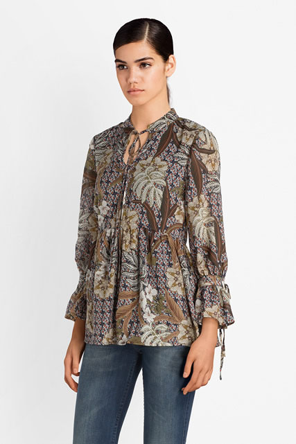 Blouse imprimée basque plissée MOLLY BRACKEN
