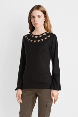 Tee-shirt manches longues PYGMEES C574 TOP SILVERBERRY Noir