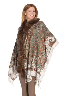 RINO AND PELLE - PonchoSCARFPRINT.7W16Beige