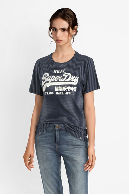 Tee-shirt logo fines rayures argentées SUPERDRY