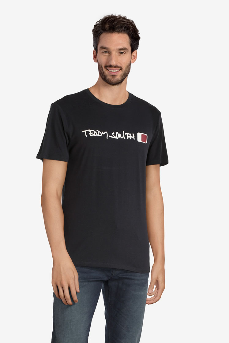 teddy smith tee shirt 11013333d bleu homme des marques. Black Bedroom Furniture Sets. Home Design Ideas