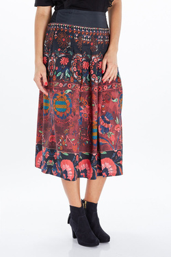 Jupe THOUGHT WWB3768 TAPESTRY SKIRT Rouge