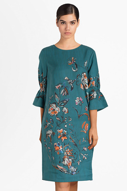 Robe THOUGHT WWD3898 FLOWER STUDY DRESS Bleu turquoise