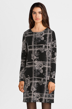 Robe THOUGHT WWD3890 FLORAL PLAID DRESS Noir