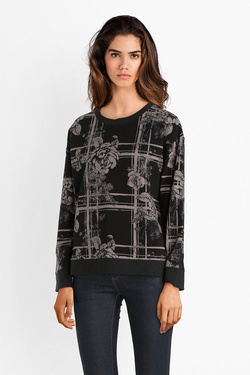 Sweat-shirt THOUGHT WWT3889 FLORAL PLAID TOP Noir