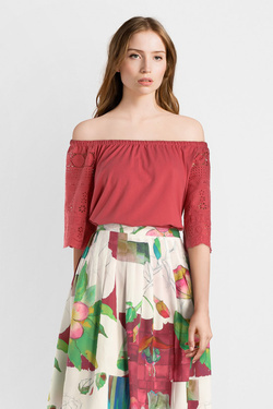Blouse THOUGHT WST4176 BRIONY TOP Rouge