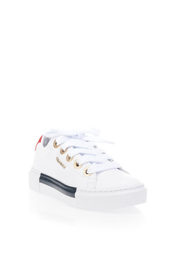 Chaussures TOMMY HILFIGER LEATHER ELEVATED TOMMY SNEAKER Blanc