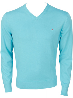 TOMMY HILFIGER Pull v bleu turquoise 69134 pacific