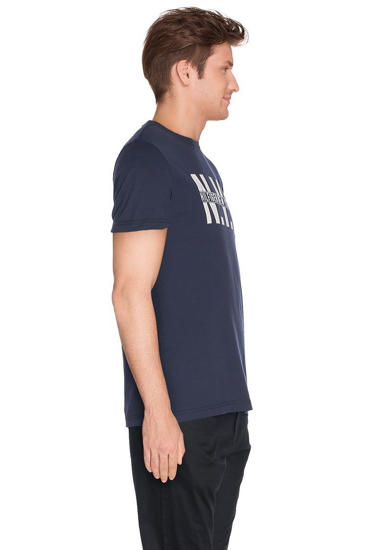 tommy hilfiger tee shirt 887894194 bleu marine homme des. Black Bedroom Furniture Sets. Home Design Ideas
