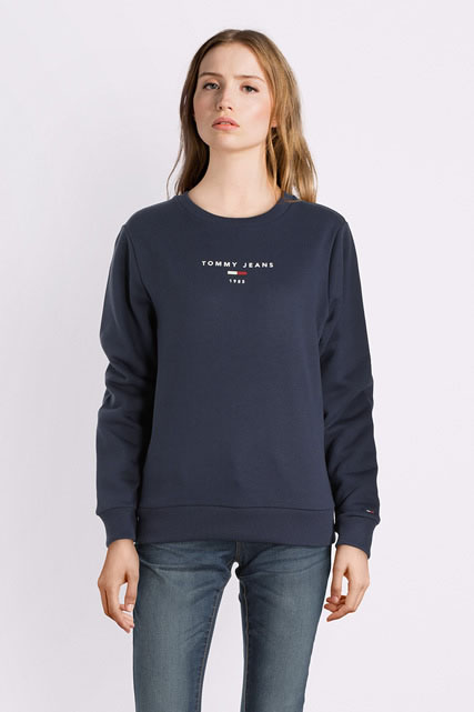 tommy jeans sweat shirt dw0dw05104 bleu marine femme des marques et vous. Black Bedroom Furniture Sets. Home Design Ideas