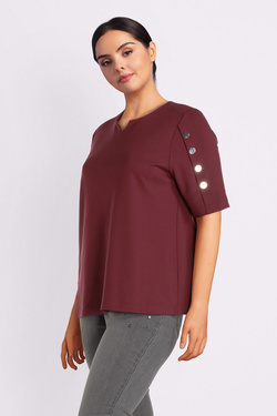 Tee-shirt ULLA POPKEN 72422951 Rouge bordeaux