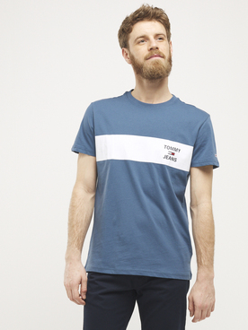 Tee-shirt TOMMY JEANS STRIP LOGO Bleu