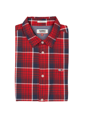 Chemise manches longues TOMMY JEANS POPLIN SH Rouge