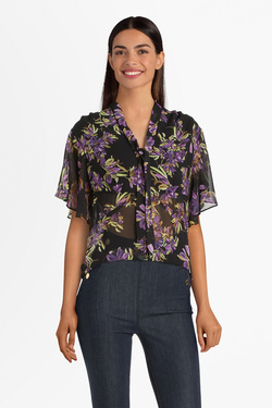 Blouse GUESS W0GH94W8SL0 SS CRYSTAL FLOWER Noir