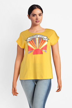 Tee-shirt ONLY CARMAKOMA 15174967 CAR SURFIN Jaune
