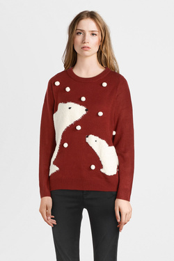Pull ONLY 15185328 ONLSNOW Rouge bordeaux